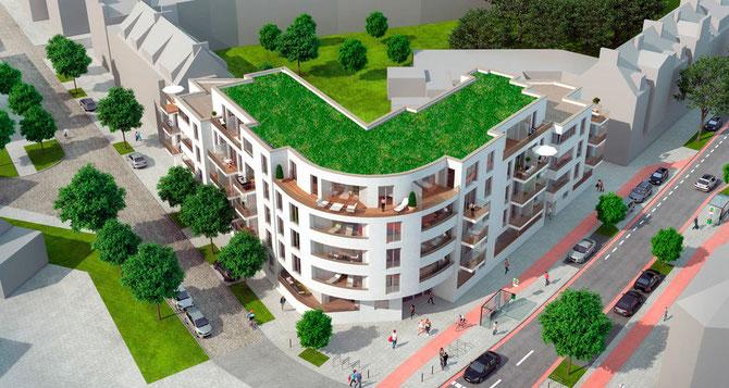 Bei Neubauvorhaben in Findorff setzt Justus Grosse erstmals auf Gründächer   (c) J. Grosse, bearbeitet