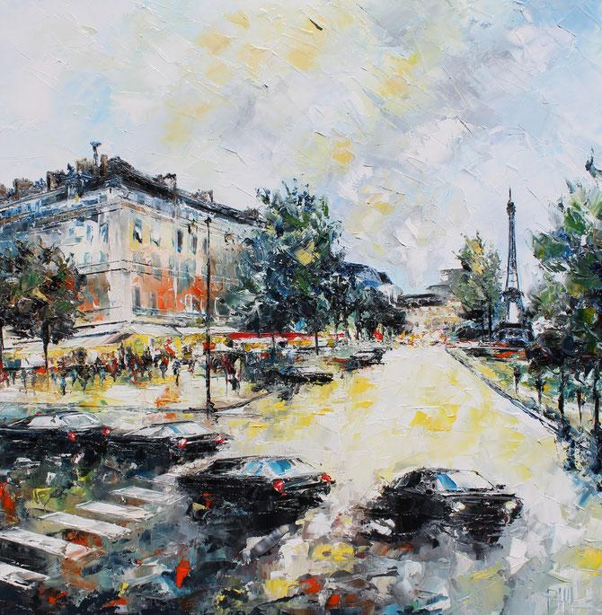 PLACE DU TROCADERO, PARIS..   80 x 80   cm. VENDU