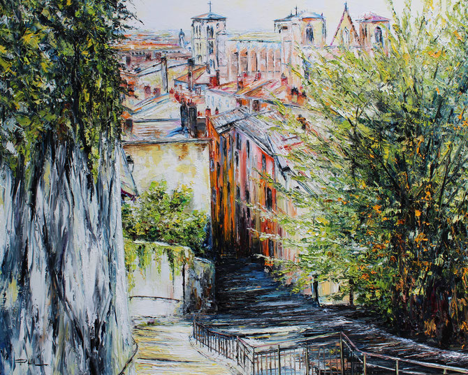MARCHES DE FOURVIERE , LYON, format, 100 x 80 cm