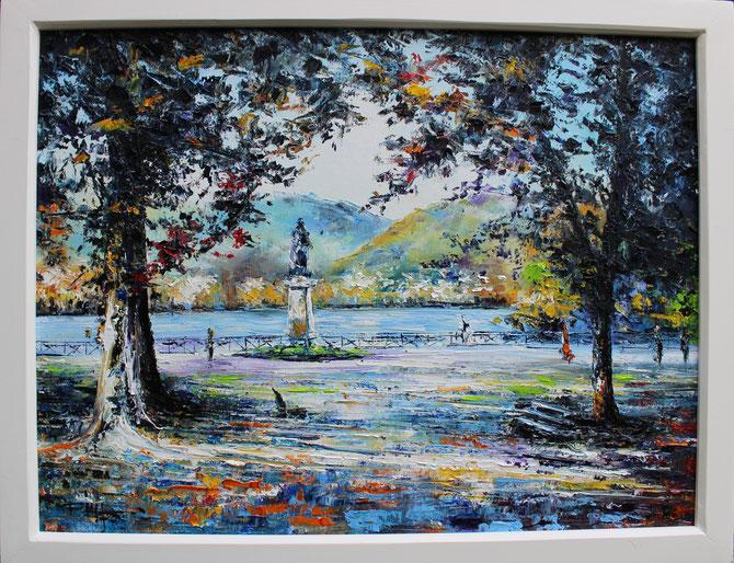 LES BORDS LAC D'ANNECY , Format, 70 x 50 cm .     Disponible