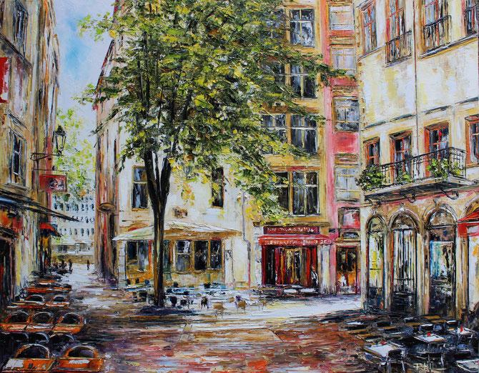 PLACE DE LA BALEINE, St JEAN, LYON, Format, 100 x 80 cm, VENDUE