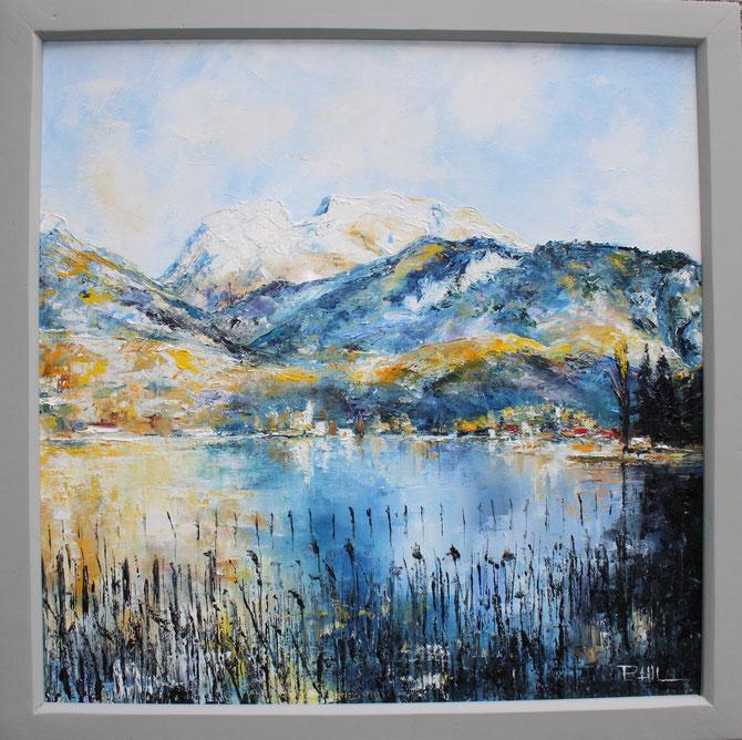 VUE SUR LA TOURNETTE ENEIGEE, ANNECY , Format, 60 x 60 cm. Disponible