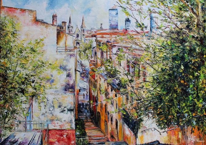 LES HAUTEURS DE LYON, format, 100 x 60 cm