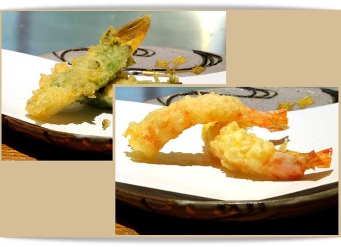 尾形乾山のお皿に載せられた、「天邑」の天ぷら。