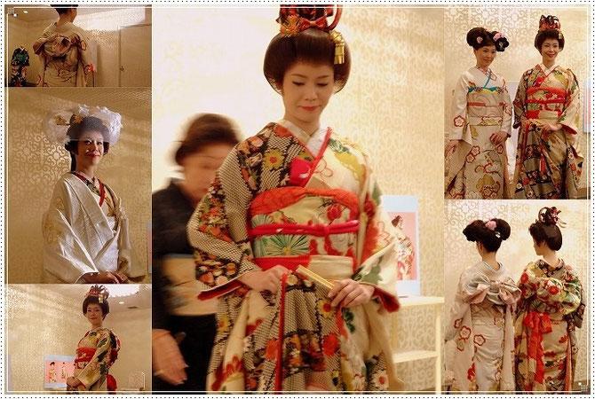 講師の先生方による、花嫁着付けのデモンストレーション。日本の伝統を伝えます。