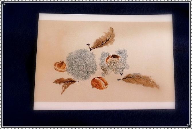 田能村竹田作「果蔬草虫図巻」の一部分。茶色とブルーの色合いが素敵で帯に染めてみたいと思いました。