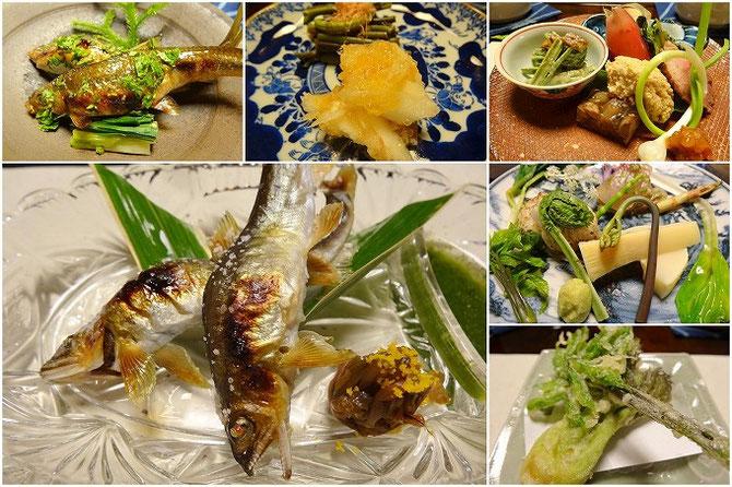 比良山荘のお料理。地鮎の塩焼き。山菜のてんぷら。山の幸が並びます。