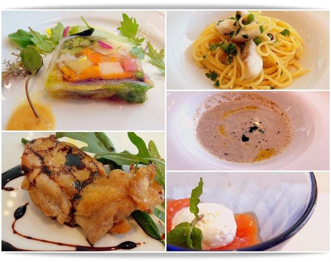 ヒルトンプラザ、イルピノーロ梅田でのランチタイムのお料理です。