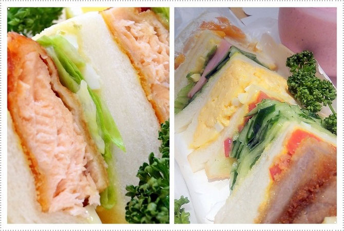宝塚ルマンのサンドイッチ。左はサーモンサンド。右は組み合わせサンド。着付け教室の生徒さんに大人気です。