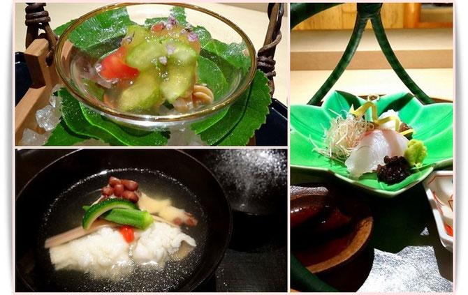 京都へ着付け教室の生徒さんとお出かけしました。「祇園にしかわ」のお料理。先付・椀物・お作りどれも季節を感じさせてくれます。