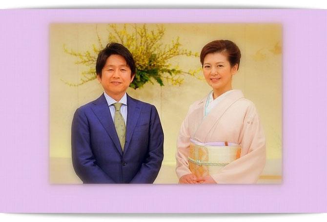 NHK「にっぽんの芸能」ホームページより司会のお二人の写真です。南野陽子さんのきもの姿が美しい。