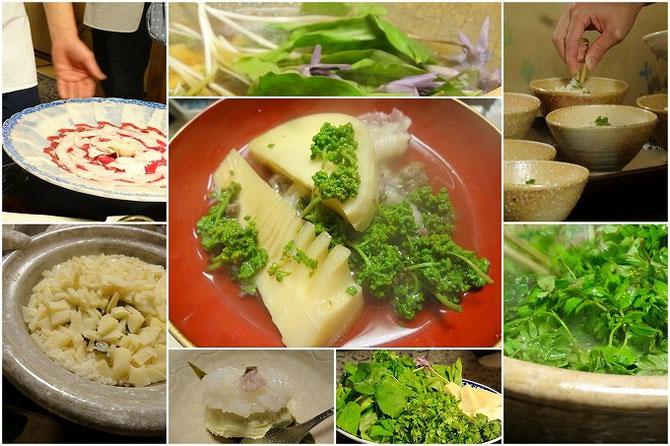 比良山荘のお料理。カタクリの花。山椒の花と木の芽。お皿に並べられたくまのお肉。たけのこ御飯。