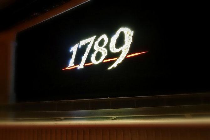 宝塚歌劇月組公演「1789」。客席から舞台を撮りました。1789と大きく書かれています。