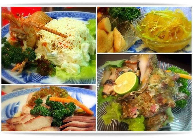 神戸「東光」にて森田空美着付け教室の忘年会。伊勢海老のサラダ・クラゲのあえもの。蒸し鶏・叉焼・等々、豪華な前菜です。
