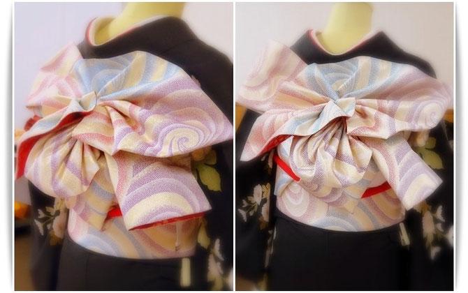 天津風と名付けられた帯結び。 先にひだを折っておけば、帯を2巻したらスリーステップで出来上がります。