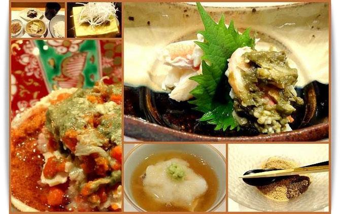 森田空美着付け教室の同期生たちとの忘年会。「新ばし星野」のお料理の数々。本日のメインはカニです。
