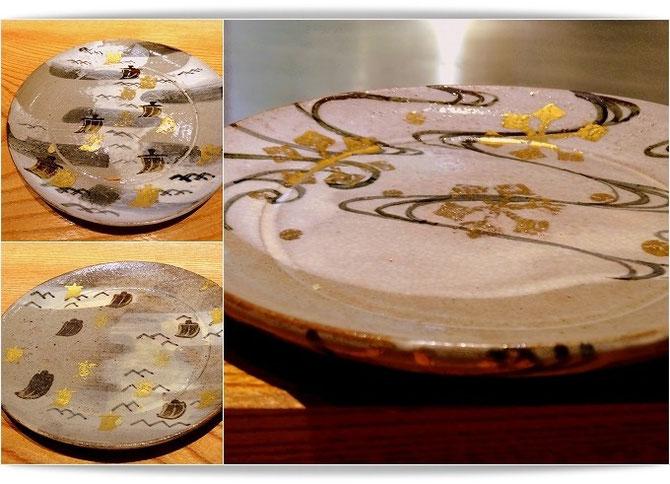 京都「天邑」の天ぷらは、贅沢にも尾形乾山のお皿に載せて供されます。