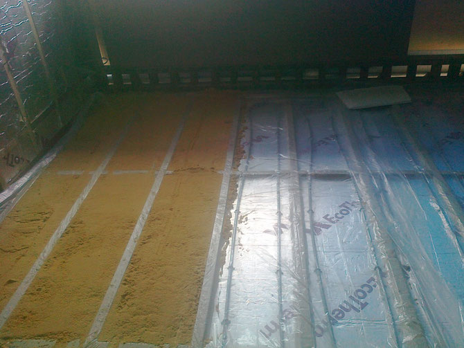 underfloor heating covered with sand