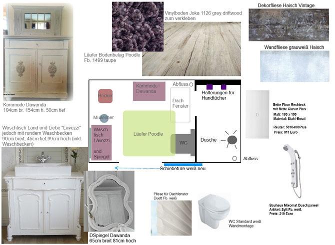Badezimmer Planung Grundriss und Konzept