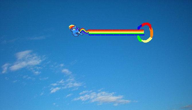 rainbow dash nel cielo!