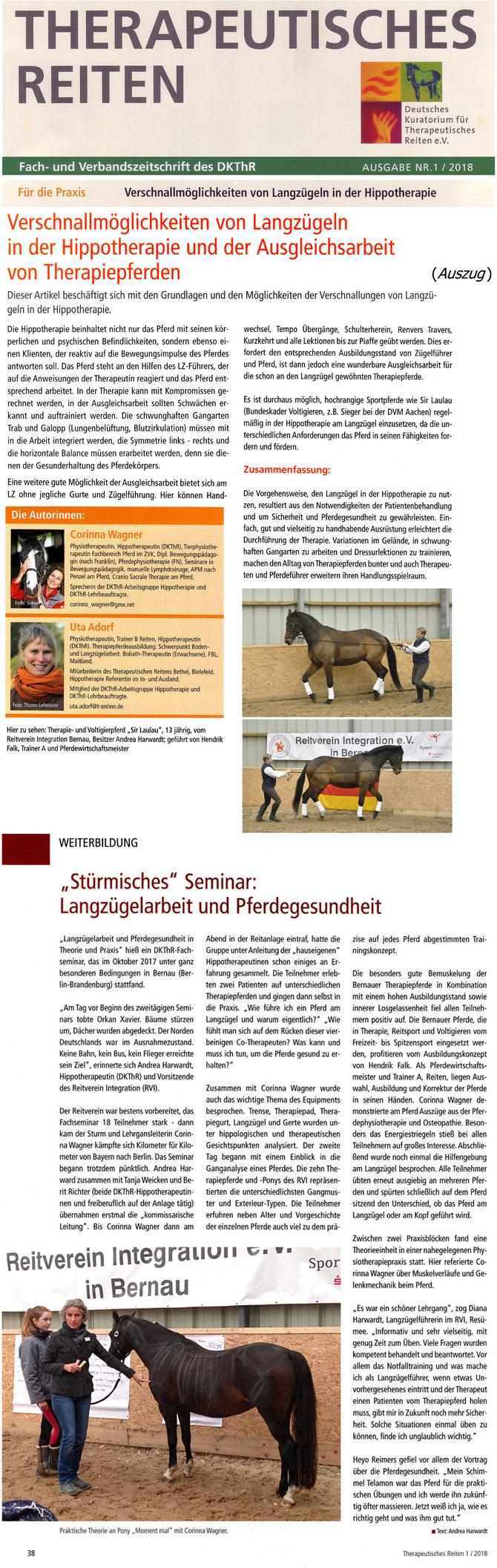 """Fachseminar """"Langzügelarbeit und Pferdegesundheit in Theorie und Praxis"""" beim RVI, erschienen in der Ausgabe 01/2018 """"Fach- und Verbandszeitschrift des DKThR"""""""