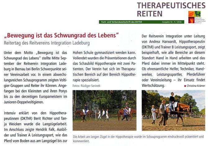 """Reitertag unter dem Motto """"Bewegung ist das Schwungrad des Lebens"""" des RVI, erschienen in der Asugabe 04/2016 in der Fach- und verbandszeitschrift des DKThR"""