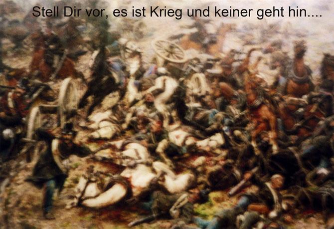 Fotomontage mit Schlachtenbild aus dem Heeresgeschichtlichen Museum Wien