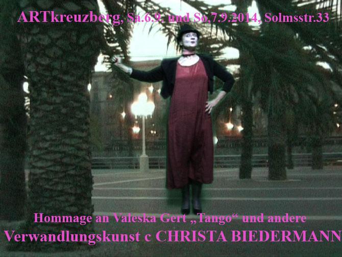 """Hommage an Valeska Gert, Kurzperformance """"Tango"""" VON und MIT Christa Biedermann frei nach Valeska Gert"""