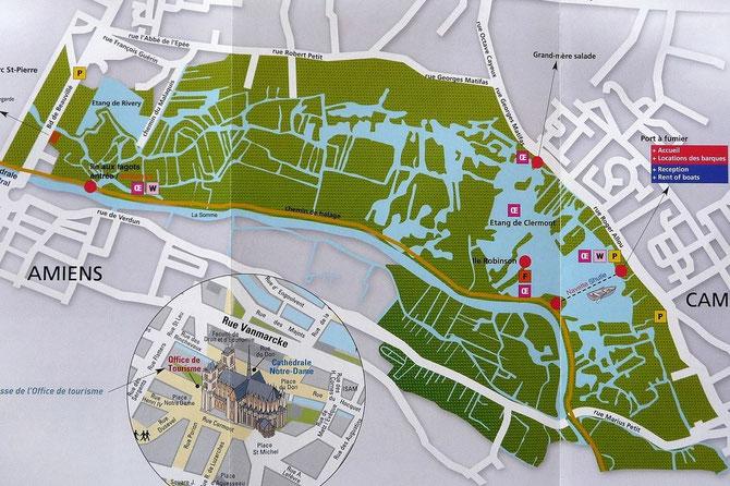Plan des Hortillonnages extrait du dépliant édité par la MCA