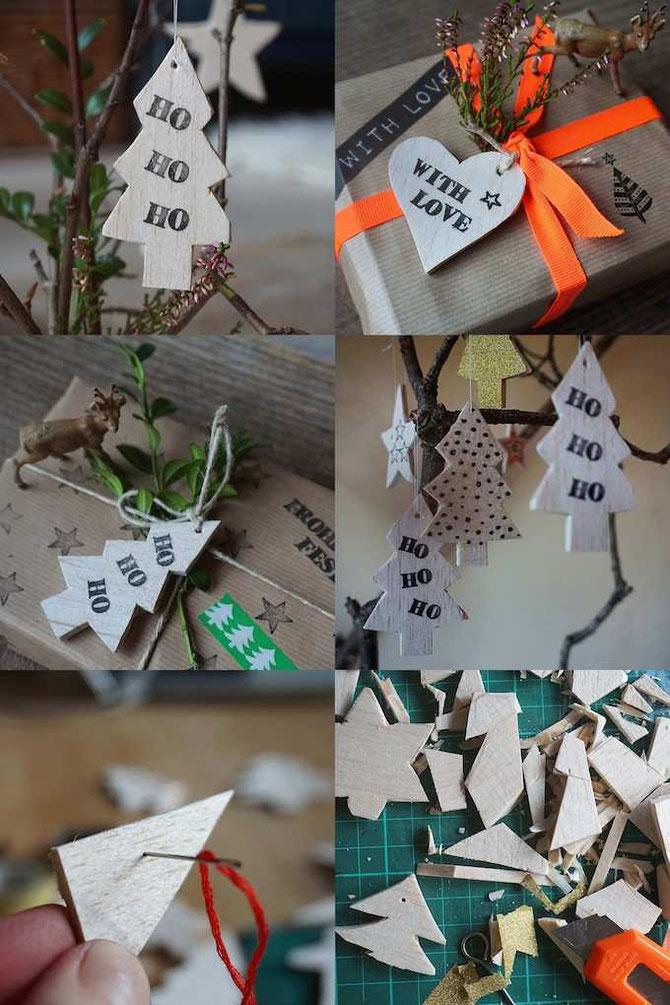 Weihnachtsanhänger, aus Balsaholz geschnitten und bestempelt, von develloppa