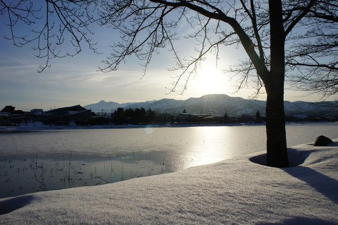 雪を被った高田城址のお堀にまばゆく日の光。遠くには南葉山と妙高山。この景色を焼き付けて次の寒波に備え隊!