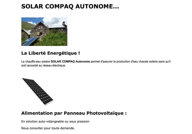 Solar Compaq Autonome - CESI - Chauffe Eau Solaire Individuel Autonome - Matic - Presso - Auto-vidangeable - sous pression -