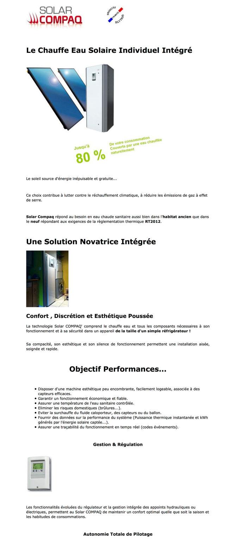 ECS - Eau Chaude Sanitaire -  CESI - Chauffe Eau Solaire Individuel -  Intégré - Solar Compaq