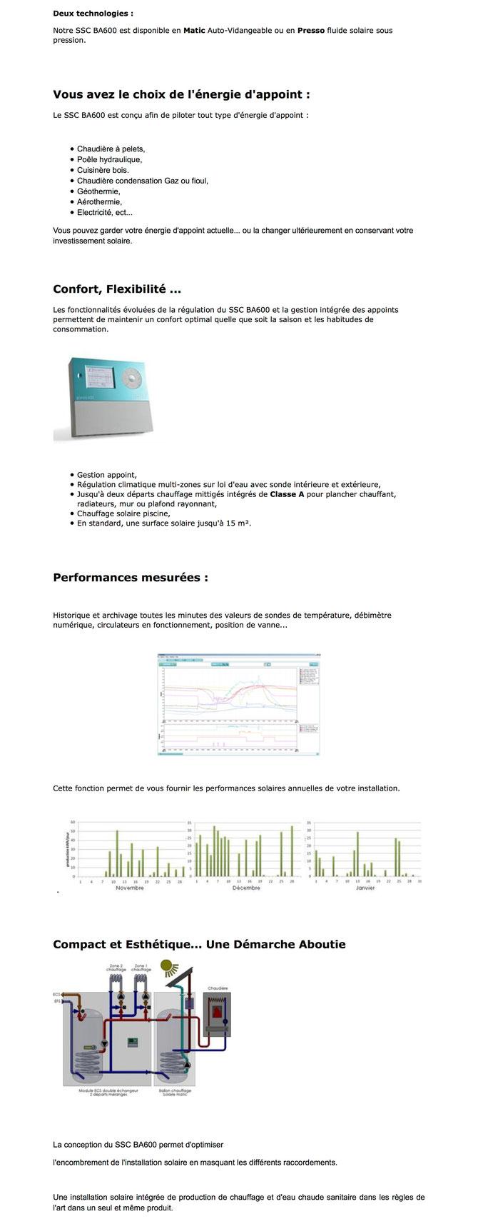 SSC bi-accumulation - Chaudière à pelets pellets - Poële hydraulique - Cuisinière bois - Chaudière condensation Gaz ou Fioul - Géothermie - Aérotherme - Electricité - Système Solaire Combiné Bi-Accumulation BA600 - ECS Eau Chaude Solaire - intégré compact