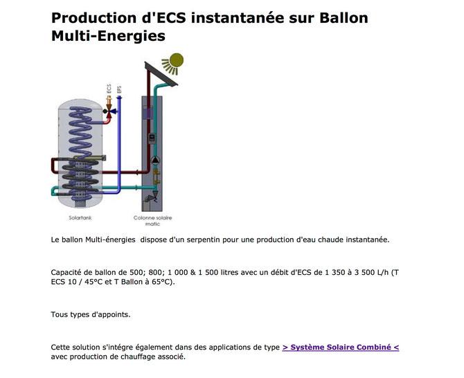 ECS Instantané sur Ballon Multi-Energies - Eau Chaude Sanitaire - Chauffe Eau Solaire Individuel - Colonne Solaire Matic - Système Solaire Combiné - SSC - Solartank
