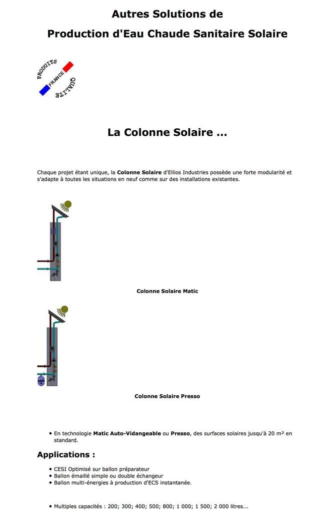 Colonne Solaire Presso - Colonne Solaire Matic - ECS - Eau Chaude Sanitaire - CESI - Chauffe Eau Solaire Individuel - Auto-vidangeable - Sous pression - Ballon simple double échangeur - Multi-Energies