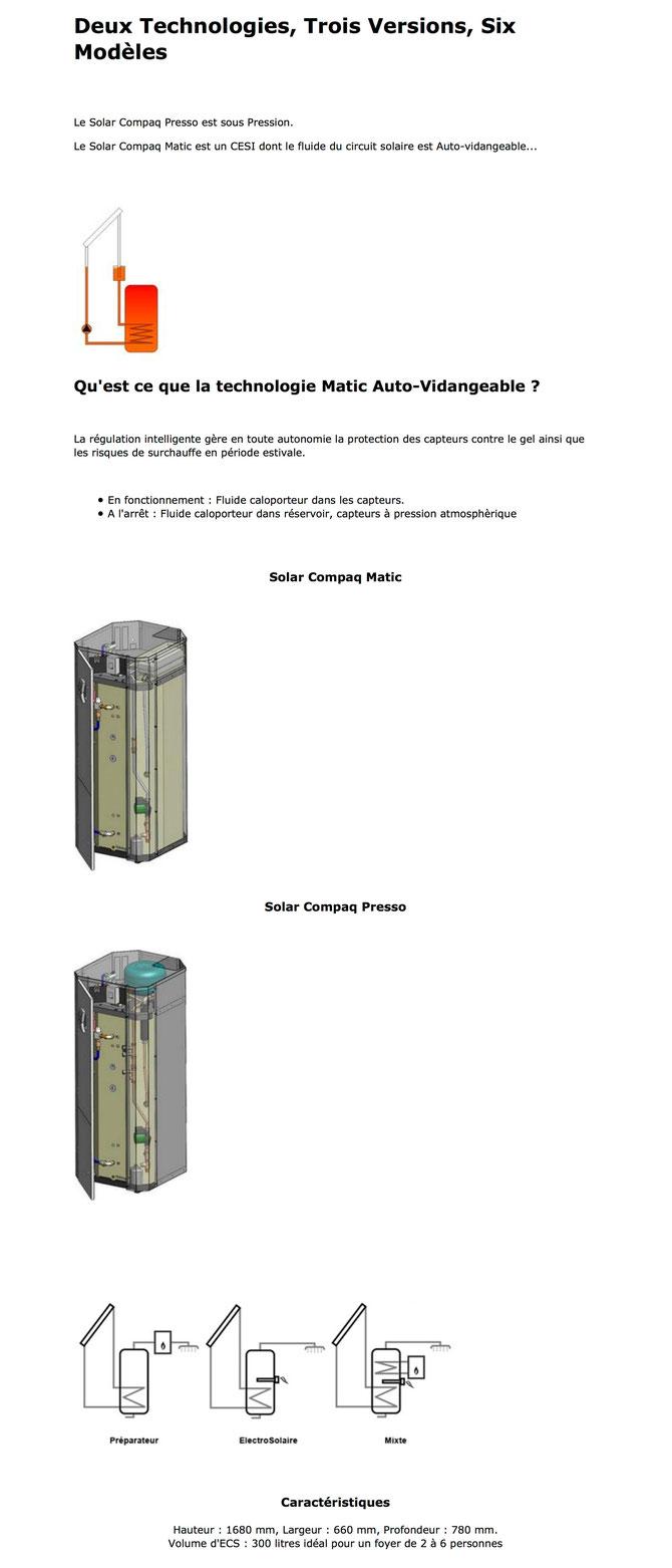 ECS - Eau Chaude Sanitaire -  CESI - Chauffe Eau Solaire Individuel -  Intégré - Solar Compaq Matic - Auto-vidangeable - Solar Compaq Presso - Préparateur