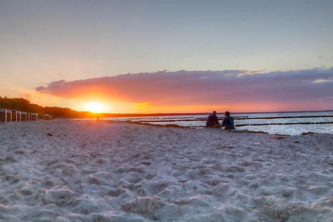 Sonnenuntergang direkt vor der Ferienwohnung Arkonablick auf Rügen