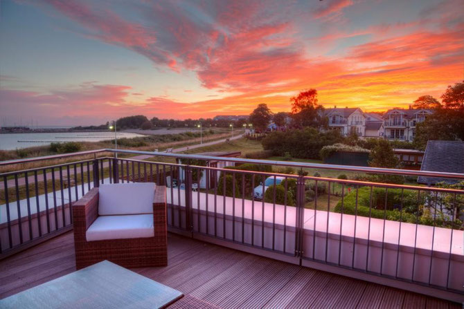Sonnenaufgang auf der Dachterrasse der Ferienwohnung Arkonablick auf Rügen