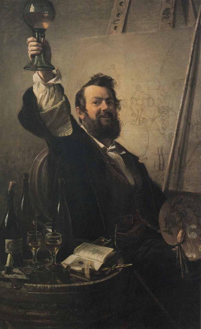 Selbstbildnis mit erhobenem Römer, 1851, Stadtgeschichtliches Museum Düsseldorf