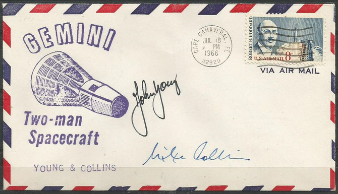 Gemini 10 launchcover orig signed by the complete crew Michael Collins and John Young