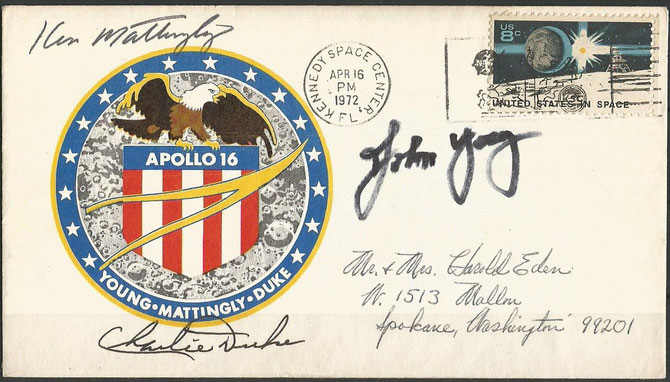 Apollo 16 lauch cover orig.signed by complete crew Mattingly, Young and Duke