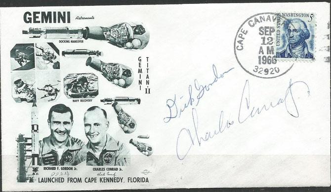 Gemini 11 launch cover orig. signed by complete crew Gordon and Conrad