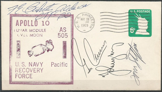 Recovery cover Apollo 10, orig.signed by complete crew