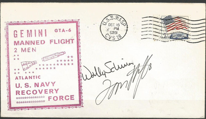 Gemini 6A recovery cover orig signed by W.Schirra and by Thomas Stafford
