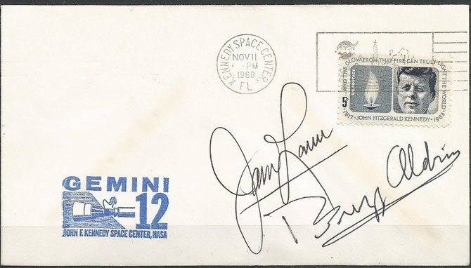 Launchcover dated 11.11.1966 with KSC cachet orig.signed by the complete crew Aldrin and Lovell, KSC cachet issued 18500 items