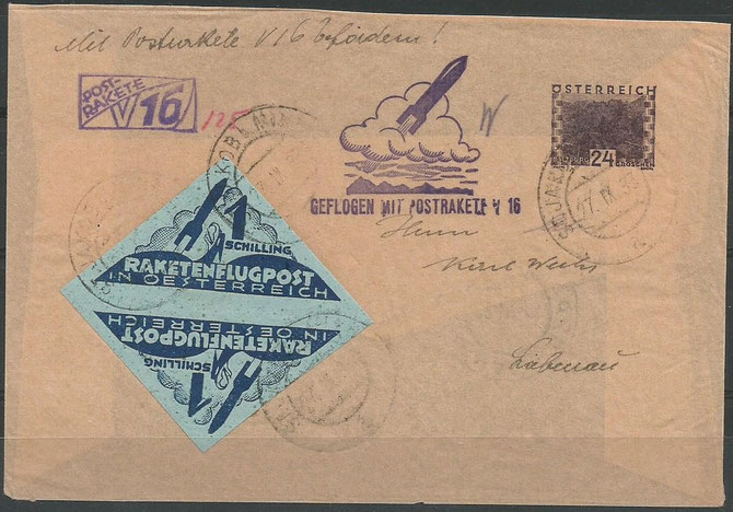 "Postrocket ""V16"" Friedrich Schmiedl, 27.9.1933 from Hochlantsch to St.Jakob, 24g landscapstamp and 1S. rocketvignette as pair inverted, chamois paper, 11 flown items are known"