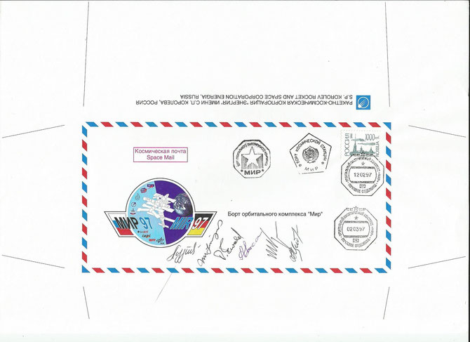 Flown cover Sojus TM-25, orig.signed by  complete crew Sojus TM-25 and Kaleri, Korzun and Linenger (STS-81) on 12.2.1997, flown back to earth with Sojus TM-24 on 2.3.1997