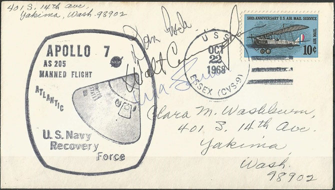 22.10.1968, Apollo 7 recovery and picked up by USS Essex, orig. signed by complete crew