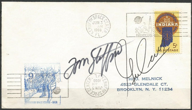 Gemini 9, launch cover orig.signed by crew Thomas Staffort and Eugene Cernan, KSC cachet issued 14630 items